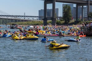 People floating on the Willamette River
