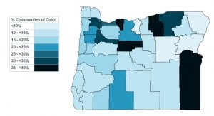 Map of Oregon counties by racial demographics