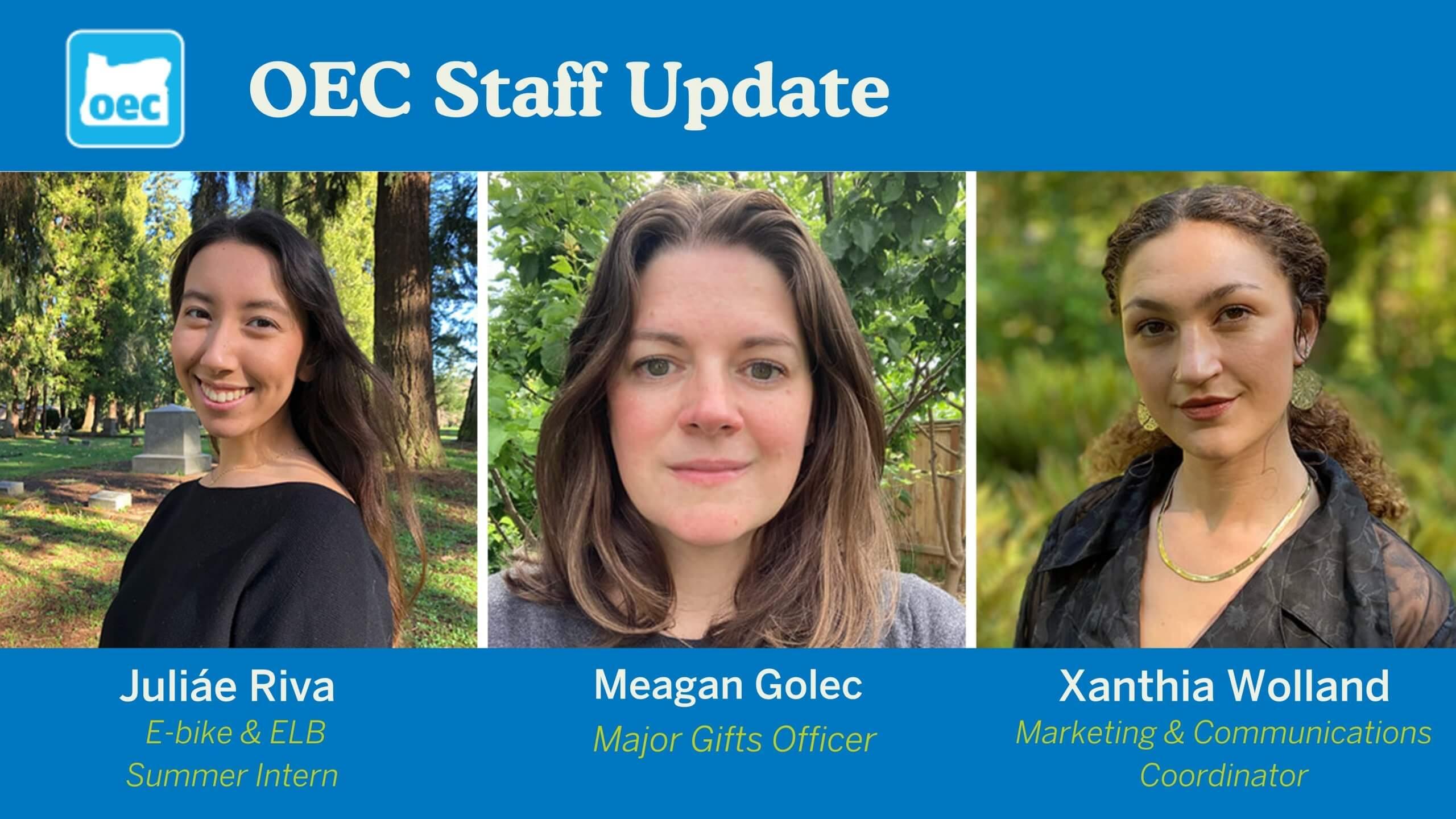 Three new staff members for OEC headshots
